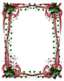 Christmas Border Holly red ribbons Stock Image