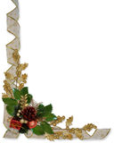 Christmas border Holly ribbon Stock Images