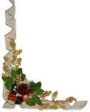 Christmas border Holly ribbon Stock Images