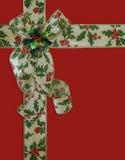 Christmas Border Holly ribbon and bow Royalty Free Stock Photography