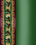 Christmas Border Holly and ribbon elegant Royalty Free Stock Image