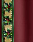 Christmas Border Holly and ribbon elegant. Image and illustration composition. Christmas holiday design with holly leaves and satin ribbon, gold accents for Stock Photo