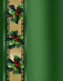 Christmas Border Holly and ribbon elegant Stock Photography
