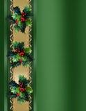 Christmas Border Holly and ribbon elegant Stock Photography