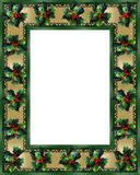 Christmas Border Holly and ribbon photo frame. Image and illustration composition. Christmas holiday design with holly leaves and satin ribbon, gold accents for Royalty Free Stock Images