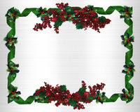 Christmas Border holly and ribbons Royalty Free Stock Image