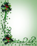 Christmas Border Holly and ribbons. Image and Illustration composition for Christmas holiday background, invitation or frame with holly and green satin ribbons Royalty Free Stock Photo