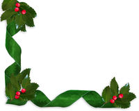 Christmas border Holly and ribbons. Christmas design with holly leaves, and ribbons for greeting card, invitation border or background. Image composition with Stock Photography