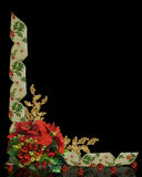 Christmas border Holly ribbons on black. Image and Illustration composition for Christmas holiday background, border, template with poinsettias, ornaments and Stock Images