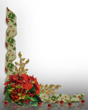 Christmas border Holly ribbons elegant Royalty Free Stock Photography