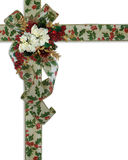 Christmas Border holly ribbons and flowers Stock Images