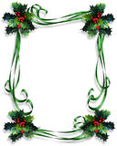 Christmas Border Holly and ribbons frame. Image and Illustration composition for Christmas holiday border, greeting card background, invitation or frame with Stock Images