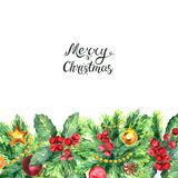 Christmas border and lettreing isolated on white background. Merry Christmas lettering and border with Mistletoe, cones, balls and Fir Sprigs with berries. Xmas Stock Images