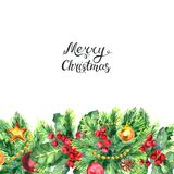 Christmas border and lettreing isolated on white background. Merry Christmas lettering and border with Mistletoe, cones, balls and Fir Sprigs with berries. Xmas Royalty Free Stock Photography