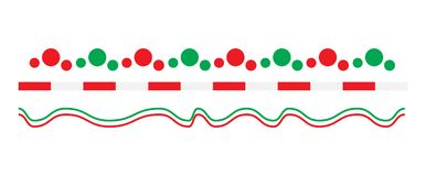 Christmas border line set vector isolated on white background.  vector illustration