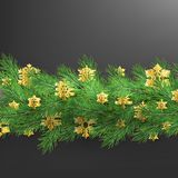 Christmas border made of realistic looking pine branches with gold foil snowflakes on black. EPS 10. Vector file stock illustration
