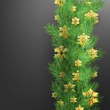 Christmas border made of realistic looking pine branches with gold foil snowflakes on black. EPS 10. Vector file royalty free illustration
