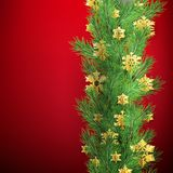 Christmas border made of realistic looking pine branches with gold foil snowflakes on red. EPS 10. Vector file royalty free illustration