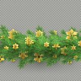 Christmas border made of realistic looking pine branches with gold foil snowflakes on transparent background. EPS 10. Vector file stock illustration