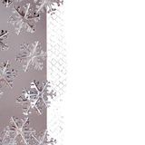 Christmas Border with Metallic Snowflakes Stock Photography