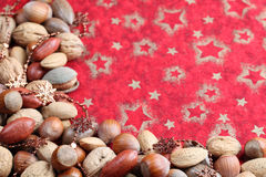 Christmas border with nuts Stock Photography