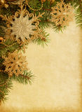 Christmas border on old paper Royalty Free Stock Images