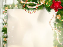 Christmas border with old paper. EPS 10 Royalty Free Stock Images