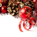 Christmas border with ornament. Christmas border with red ornament. Studio shot royalty free stock photography
