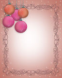 Christmas Border ornaments Pink  Royalty Free Stock Image