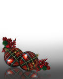 Christmas Border ornaments plaid Stock Photo