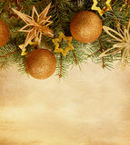 Christmas border on paper background. Royalty Free Stock Image