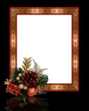 Christmas border pine cone frame Stock Photography