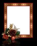 Christmas border pine cone frame stock photography