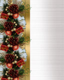 Christmas border pine cones and bow Royalty Free Stock Images