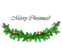 Christmas border with pine and red ribbon Stock Photography
