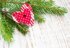 Christmas border with pine tree Stock Images