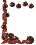 Christmas Border plaid Ribbons and balls. Image and illustration Composition Christmas Corner design with plaid ornaments and Plaid curled ribbon for border Stock Photography