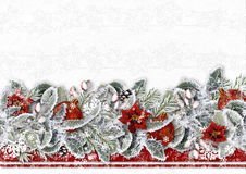 Christmas border with poinsettia, snow branches and balls on a white background .Greeting card Stock Images