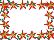 Christmas border with poinsettias Stock Images