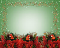 Christmas border poinsettias  Stock Photos