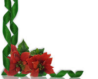 Christmas border Poinsettias and ribbons Royalty Free Stock Image
