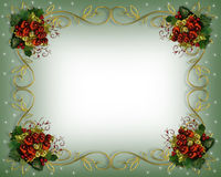 Christmas Border red accents. Image and illustration composition for Christmas card, holiday invitation, template, Border or frame with gold and red accents stock illustration