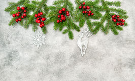 Christmas border red berries silver ornaments decoration Stock Image