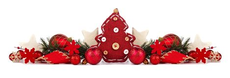 Rustic red Christmas border isolated on white Stock Images