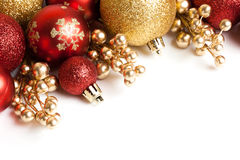 Christmas border with red ornament Royalty Free Stock Images