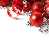 Christmas border with red ornament Royalty Free Stock Photo