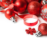 Christmas border with red ornament Royalty Free Stock Photos