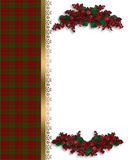 Christmas border red plaid Royalty Free Stock Images