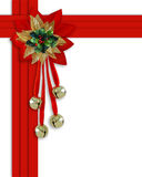 Christmas border red ribbons. Image and illustration composition Christmas border design with holly leaves, jingle bells and red velvet ribbons  frame for Stock Photo