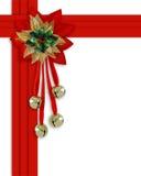 Christmas border red ribbons stock photo